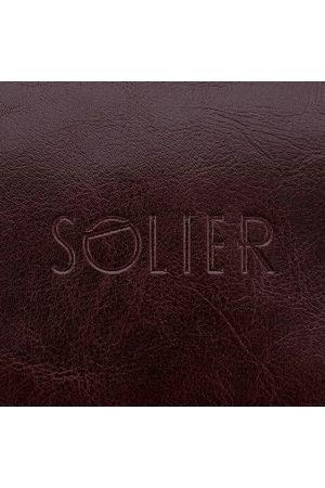 Solier Elegancka skórzana kosmetyczka męska burgundowa - burgundowy