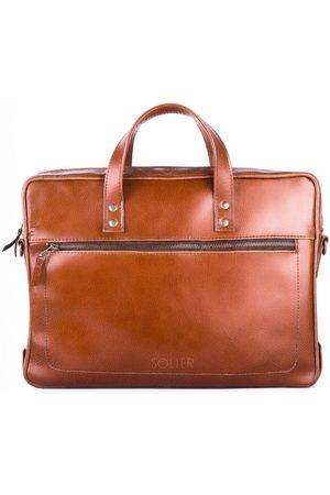 Solier Skórzana męska torba na laptopa brązowa - Brązowy Vintage \ Jednokomorowa