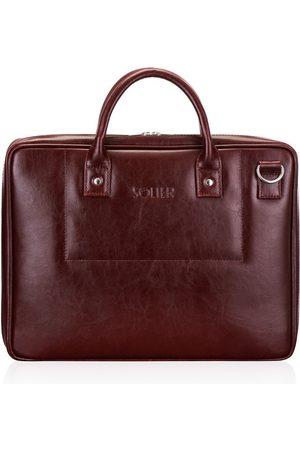 Solier Skórzana torba męska na laptopa burgundowa - Burgundowy