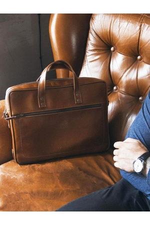 Solier Skórzana męska torba na laptopa brązowa - Brązowy Vintage \ Dwukomorowa