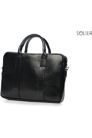 Solier Skórzana torba męska na laptopa czarna - Czarny