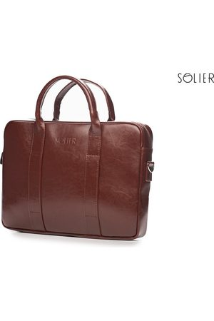 Solier Skórzana torba męska na laptopa burgund - Burgundowy