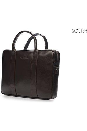 Solier Skórzana torba męska na laptopa ciemnobrązowa - Brązowy