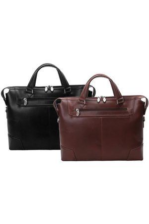 Mcklein Skórzana męska torba na laptopa Arcadia 88765 czarna - Czarny
