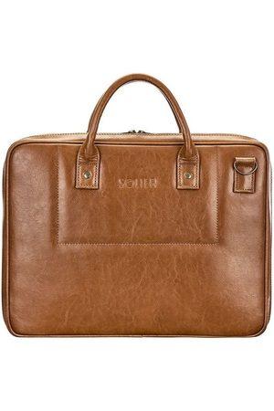 Solier Mężczyzna Walizki - Skórzana torba męska na laptopa brązowy vintage - Brązowy Vintage
