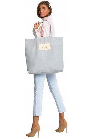 * producent niezdefiniowany Tote bag z tkaniny płóciennej jasnoszara - street fashion