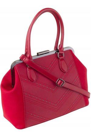 David Jones Torebka damska kuferek z nitami 6144-2 czerwony - Czerwony