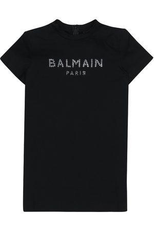 Balmain Logo embellished cotton T-shirt dress