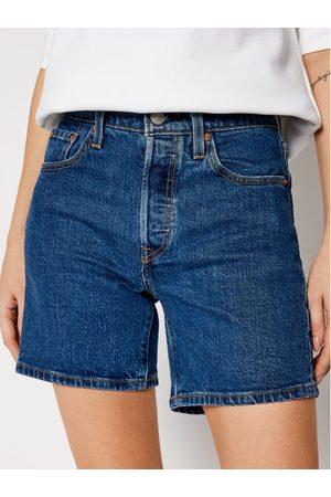 Levi's Kobieta Straight - Szorty jeansowe 501™ Mid Thigh 85833-0007 Granatowy Regular Fit