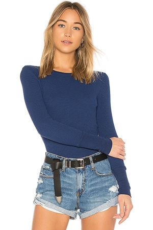 Bobi Long Sleeve Thermal Tee in - Blue. Size L (also in M, S, XS).