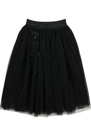 Balmain Kids Crystal-embellished tulle skirt