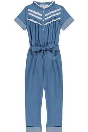 Tartine Et Chocolat Dziewczynka Kombinezony - Lace-trimmed cotton chambray jumpsuit
