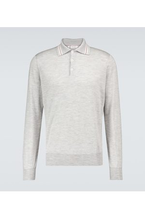 Brunello Cucinelli Cashmere-blend long-sleeved polo