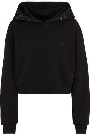 Moncler Kobieta Bluzy z kapturem - Cotton-blend cropped hoodie