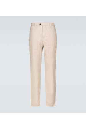 Brunello Cucinelli Bojówki - Linen and cotton cargo pants