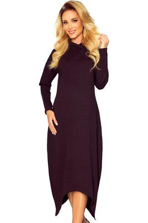Numoco Kobieta Sukienki dzianinowe - Długa dzianinowa sukienka z kapturem - czarna
