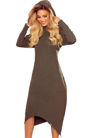Numoco Kobieta Sukienki dzianinowe - Długa dzianinowa sukienka z kapturem - khaki