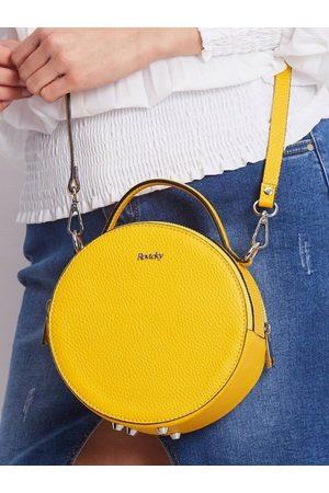 ROVICKY Torebka damska kuferek włoski skórzany żółty