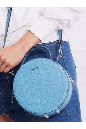 ROVICKY Torebka damska kuferek włoski skórzany niebieska