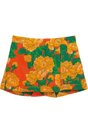 Mini Rodini Peonies floral cotton-poplin shorts