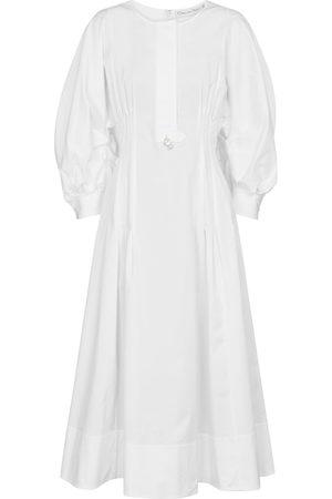 Oscar de la Renta Embellished stretch-cotton midi dress