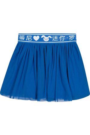 Mini Rodini Dziewczynka Spódnice - Rabbit cotton tulle and jersey skirt
