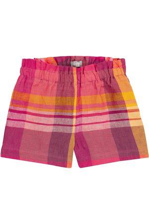 Il Gufo Dziewczynka Szorty - Checked linen shorts