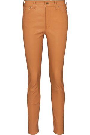 Polo Ralph Lauren Kobieta Rurki - High-rise slim leather pants