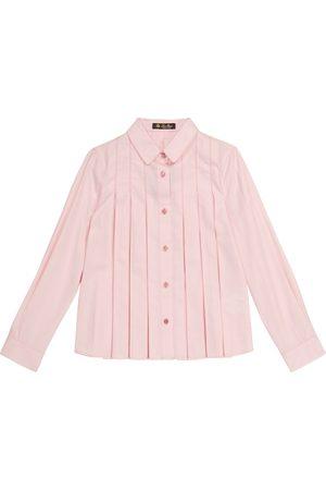 Loro Piana Ambre pleated cotton and silk blouse