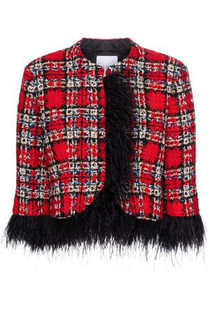 adidas Feather-trimmed tartan jacket