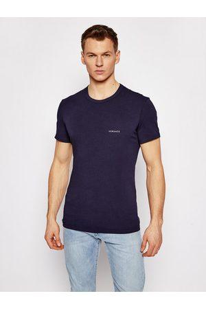 VERSACE T-Shirt Girocollo AUU04023 Granatowy Slim Fit