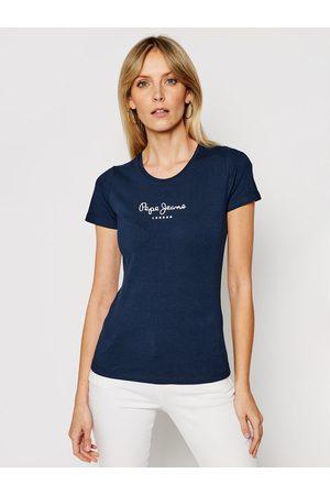 Pepe Jeans Kobieta Z krótkim rękawem - T-Shirt PL502711 Granatowy Slim Fit