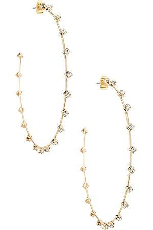 Ettika Rhinestone Hoop Earrings in - Metallic . Size all.