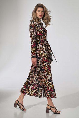Figl Kobieta Sukienki dzienne - Długa koszulowa sukienka z paskiem - wzór 122