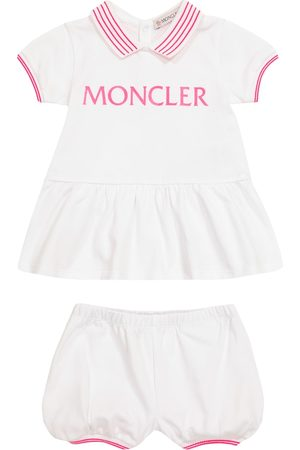 Moncler Baby logo cotton dress and bloomers set