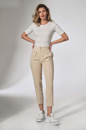 Figl Kobieta Spodnie - Sztruksowe spodnie z zakładkami - beżowe