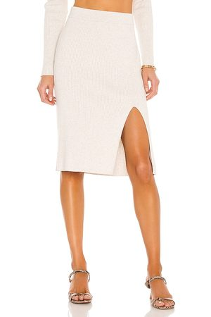 Bobi BLACK Fine Cotton Sweater Skirt in - Ivory. Size L (also in M, S, XS).
