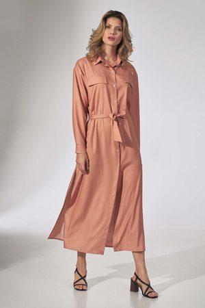 Figl Długa koszulowa sukienka z paskiem - pomarańczowa