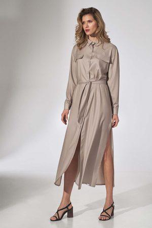 Figl Długa koszulowa sukienka z paskiem - beżowa