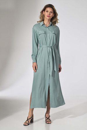 Figl Długa koszulowa sukienka z paskiem - miętowa