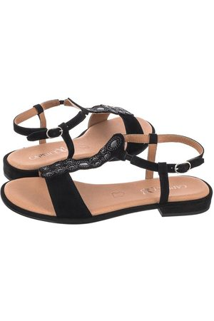 Caprice Kobieta Sandały - Sandały Czarne 9-28100-26 004 Black Suede (CP264-a)