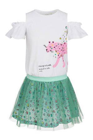 Endo Sukienka z krótkim rękawem i tiulowym dołem, z panterą w serca, 9-13 lat