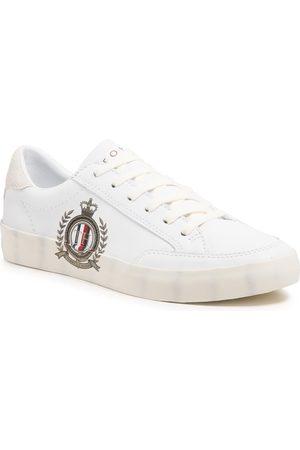Tommy Hilfiger Tenisówki - Th Crest Print Leather Sneaker FW0FW05726 White YBR