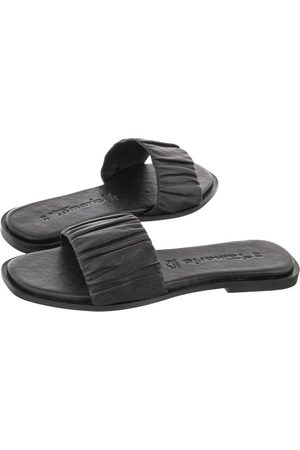 Tamaris Kobieta Klapki - Klapki Czarne 1-27144-36 003 Black Leather (TM320-a)