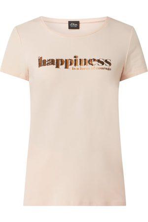 s.Oliver Kobieta Z krótkim rękawem - T-shirt z nadrukiem i cekinami