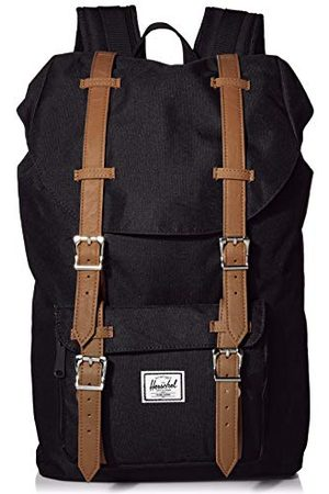 Herschel Little America Mid Volume, torba dla dorosłych, uniseks, Black/Tan Synthetic Leather Backpack - 10014