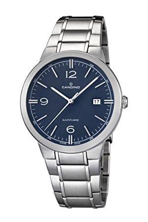 Candino Męski zegarek kwarcowy z niebieskim wyświetlaczem analogowym i srebrną bransoletką ze stali nierdzewnej C4510/2