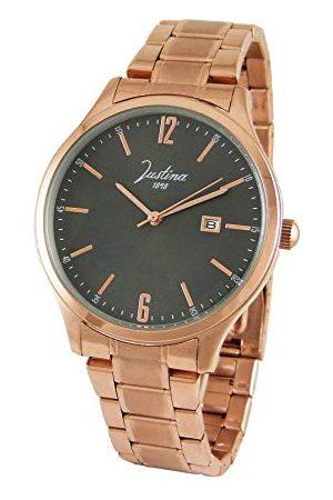 JUSTINA Męski analogowy zegarek kwarcowy z bransoletką ze stali szlachetnej 13740G