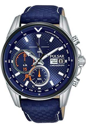 Pulsar Rally męski zegarek solarny chronograf ze stali nierdzewnej z metalowym paskiem Pasek Srebro z powłoką węglika tytanu