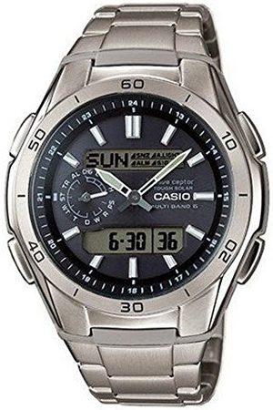 Casio Męski zegarek na rękę z panelem słonecznym i radiowym i tytanowym paskiem
